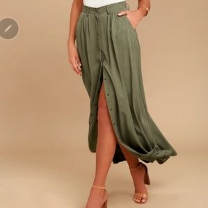 Pistola My Squad Olive Green Maxi Skirt Sz S